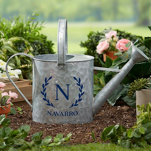 Laurel Initial Monogrammed Watering Can